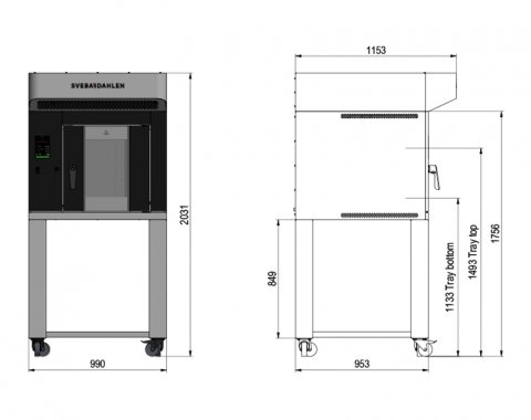 In-store bakery oven with Sveba Dahlen S-Series SR120 with SD Touch 2 panel