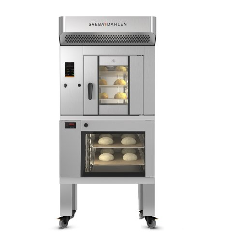 Bake in limited space. Dough Fermentation below and baking on top with SRP120. Made for the instore bakery.