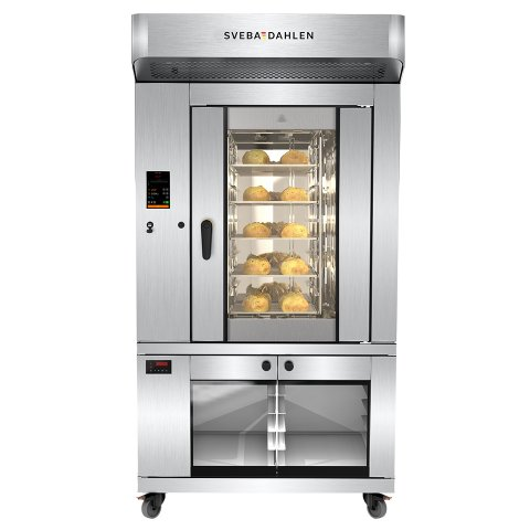 Mini rack oven with oven on top and underbuilt proofer. All in one place. Effective baking in small spaces.