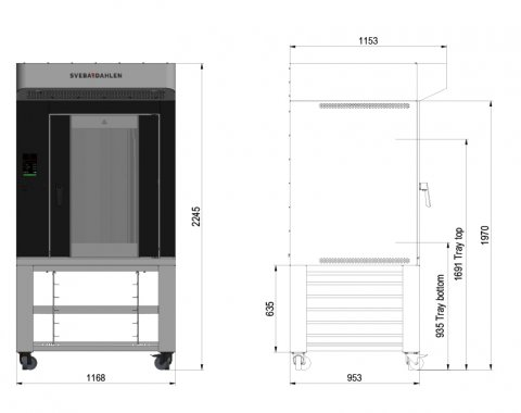 In-store oven S-Series with underbuilt tray rack, effective storage in limited space