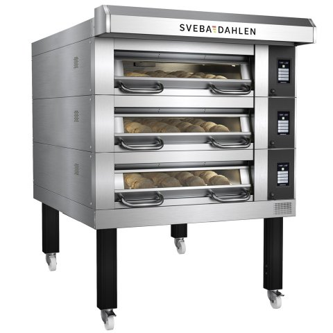 Bakery deck oven with extra depth for higher capacity