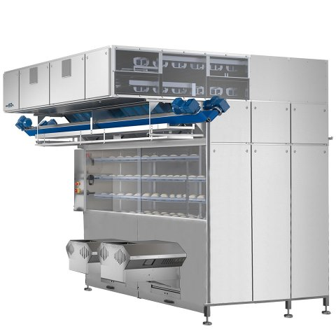 Intermediate pocket proofer prover for resting of dough in bread line dough line IPP glimek