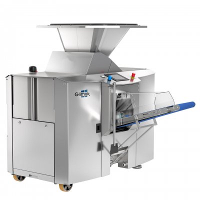Robust dough divider made for continuous industrial production of dough pieces Glimek